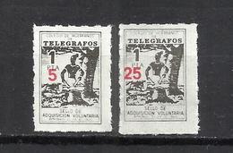 7146-COLEGIO DE HUERFANOS DE TELEGRAFOS,CORREOS FISCALES SOBRECARGA DIFERENTE 2 HABILITACIONES NUEVO VALOR DISTINTAS 5 Y - Beneficiencia (Sellos De)