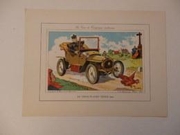 """Lithographie Originale De 34cm/25cm De Guy Sabran Tirée De L'encyclopédie Automobile.Le """"Deux Places"""" Zèbre 1904. - Cars"""