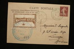 Entier CP Semeuse 15c Timbré Sur Commande + Vignette Charleville Cachet Bleu 6/6/31 Le Chaos Ardenne - Postal Stamped Stationery
