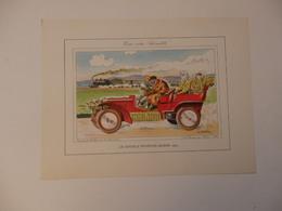 Lithographie Originale De 34cm/25cm De Guy Sabran Tirée De L'encyclopédie Automobile.Le Double Phaéton Morse 1903. - Cars