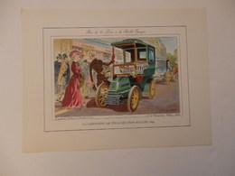 Lithographie Originale De 34cm/25cm De Guy Sabran Tirée De L'encyclopédie Automobile.La Limousine De Ville Léon Bollée. - Cars