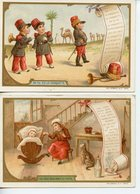 149LOT 2 CALENDRIERS 1896 FORMAT CPA CHANSONS LA CASQUETTE ET COLAS CHICOREE VOLCKER-COUMES A BAYON (MEURTHE ET MOSELLE) - Publicité