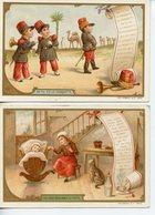 149LOT 2 CALENDRIERS 1896 FORMAT CPA CHANSONS LA CASQUETTE ET COLAS CHICOREE VOLCKER-COUMES A BAYON (MEURTHE ET MOSELLE) - Werbepostkarten