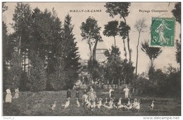 AL12 - MAILLY LE CAMP -  PAYSAGE CHAMPENOIS  -  ELEVAGE D ' OIES  - CARTE ANIMEE  - 2 SCANS . - Mailly-le-Camp