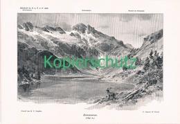 018 E.T.Compton Kawassersee Bergsee Kunstblatt Druck 1898 !! - Prints