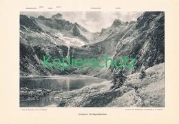 019 E.T.Compton Rotgildensee Bergsee Kunstblatt Druck 1898 !! - Prints