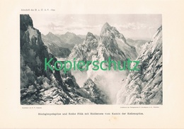 024 E.T.Compton Hochgimpelspitze Haldensee Kunstblatt Druck 1899!! - Prints