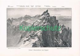 032 E.T.Compton Latemar Diamantiditurm Panorama Druck 1900 !! - Prints