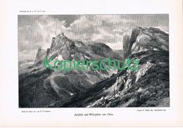 042-2 E.T.Compton Sulzfluh Weissplatte Panorama Druck 1901 !! - Prints