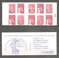 Carnet LUQUET Pour Guichets Y&T N° 1511 - 5 TVP.rouge N°3419a (type1) + 5 TP Semeuse De Roty N°3619. Neuf.  TB - Carnets
