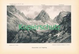 045-2 E.T.Compton Hanauer Hütte Berge Kunstblatt Druck 1901 !! - Prints