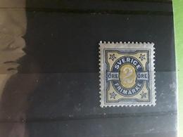 SVERIGE SUEDE SWEDEN , 1892, Chiffres, Yvert No 52, 2 Ore Bleu Et Jaune Neuf * MH , TB - Neufs
