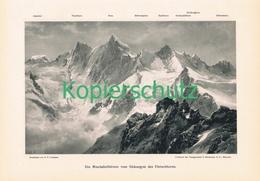 050-3 E.T.Compton Mischabelhörner Fletschhorn Druck 1903 !! - Prints