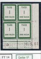 France Fictif Coin Daté Timbre Taxe Reférence Yvert Ft 14 Du 28 3 1961 - Angoli Datati