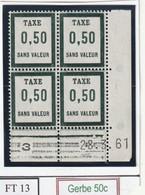 France Fictif Coin Daté Timbre Taxe Reférence Yvert Ft 13  Du 28 3 1961 Luxe - Angoli Datati