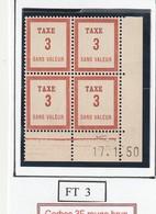 France Fictif Coin Daté Timbre Taxe Reférence Yvert Ft 3 Du 17 1 1950 - Angoli Datati