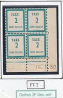 France Fictif Coin Daté Timbre Taxe Reférence Yvert Ft 2 Du 16 1 1950 - Angoli Datati