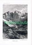 067 E.T.Compton Vignemale Pyrenäen Berge Druck 1906 !! - Prints