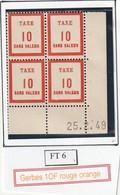 France Fictif Coin Daté Timbre Taxe Reférence Yvert Ft 6 Du 25 2 1949 - Angoli Datati