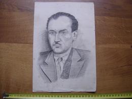 DESSIN ORIGINAL PORTRAIT HOMME MOUSTACHES Non Signe A DETERMINER - Drawings
