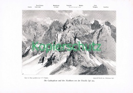 070 E.T.Compton Cadinspitzen Karnische Alpen Druck 1906 !! - Prints