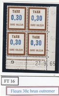 France Fictif Coin Daté Timbre Taxe Reférence Yvert Ft  16 Du 21 9 1965 - Angoli Datati
