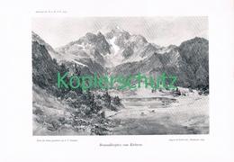 073 E.T.Compton Braunadlerspitze Körbersee Druck 1907 !! - Prints