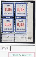 France Fictif Coin Daté Timbre Taxe Reférence Yvert Ft 17 Du 18 3 1968 - Angoli Datati