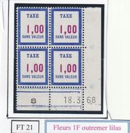 France Fictif Coin Daté Timbre Taxe Reférence Yvert Ft 21 Du 18 3 1968 - Angoli Datati