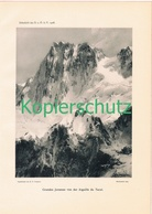 080-2 E.T.Compton Grandes Jorasses Montblanc Druck 1908 !! - Prints