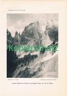 082-2 E.T.Compton Aiguille Blanche Montblanc Druck 1908 !! - Prints