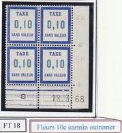 France Fictif Coin Daté Timbre Taxe Reférence Yvert Ft 18 Du 18 3 1968 - Altri
