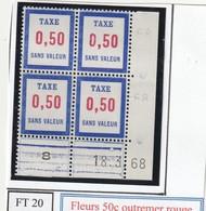 France Fictif Coin Daté Timbre Taxe Reférence Yvert Ft 20 Du 18 3 1968 - Angoli Datati