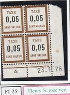 France Fictif Coin Daté Timbre Taxe Reférence Yvert Ft 25 Du 23 1 1976 - Altri