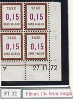 France Fictif Coin Daté Timbre Taxe Reférence Yvert Ft 22 Du 27 11 1972 - Angoli Datati