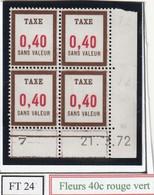 France Fictif Coin Daté Timbre Taxe Reférence Yvert Ft 25 Du 21 3 1972 - Dated Corners