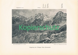 092 E.T.Compton Tübinger Hütte Panorama Druck 1910 !! - Prints