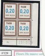 France Fictif Coin Daté Timbre Taxe Reférence Yvert Ft 29 Du 23 2 1978 - Angoli Datati