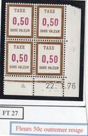 France Fictif Coin Daté Timbre Taxe Reférence Yvert Ft 27 Du 22 1 1976 - Angoli Datati