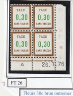 France Fictif Coin Daté Timbre Taxe Reférence Yvert Ft 26 Du 26 1 1976 - Angoli Datati