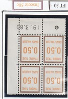 France Fictif Coin Daté Timbre Taxe Reférence Yvert Ft 3319 03 1980 - Angoli Datati