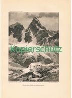 099 E.T.Compton Wiesbadener Hütte Silvretta Druck 1914 !! - Prints
