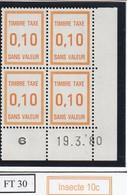 France Fictif Coin Daté Timbre Taxe Reférence Yvert Ft 30 Du 19 03 1980 - Angoli Datati