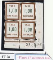 France Fictif Coin Daté Timbre Taxe Reférence Yvert Ft 28 Du 23 03 196 - Angoli Datati