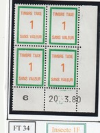 France Fictif Coin Daté Timbre Taxe Reférence Yvert Ft 34  Du 20 03 196 - Angoli Datati