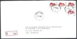 Cob  2136 X 2 + 2203x2type Velghe Sur Lettre Recommandé WOLUWE 2 - 1981-1990 Velghe