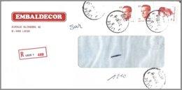 Cob  2136 X 2 (1coupé) + 2203 Type Velghe Sur Lettre Recommandé LIEGE 3 - 1981-1990 Velghe