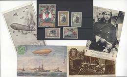 4 CPA + 5 VIGNETTES AVIATION BALLON ZEPPELIN WW1 ENGLAND DEUTSCHLAND Pilote WARNEFORD ERINNOPHILIE Cinderella Stamp - Guerre 1914-18