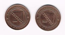 &  BOSNIE EN HERZEGOVINA  2 X 50  FENINGA  1998/2007 - Bosnie-Herzegovine