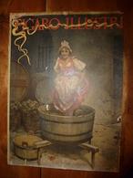 1895 Rare Plaque Publicitaire Du FIGARO ILLUSTRÉ 52x32cm :Litho:La Vendange De Jeanneton (jeune Fille Foulant Le Raisin) - Targhe Di Cartone
